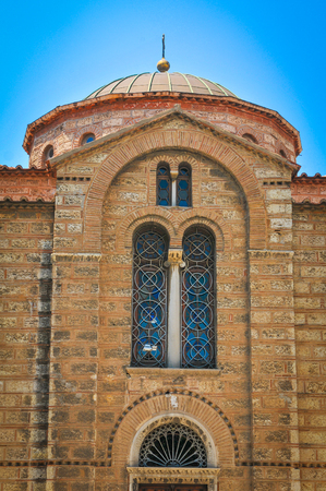 restored: Architectural detail of Orthodox church in Athens, Greece Stock Photo