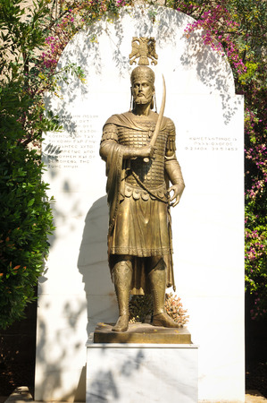 Statue of Emperor Constantine XI in Athens, Greece