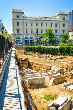 restored: Athens, Greece - June 13, 2017: View of ancient graveyard and generic architecture in  central Athens, Greece Editorial