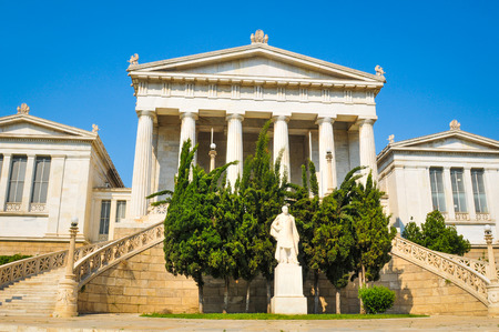 Ancient architecture of the Academy building in Athens, Greece Redakční