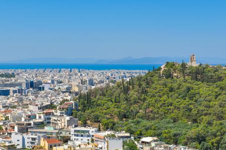 Vue d'Athènes, Grèce vue du Parthénon, colline de l'Acropole Banque d'images