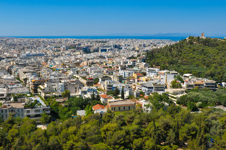 restored: View of Athens, Greece as seen from the Parthenon, Acropolis hill