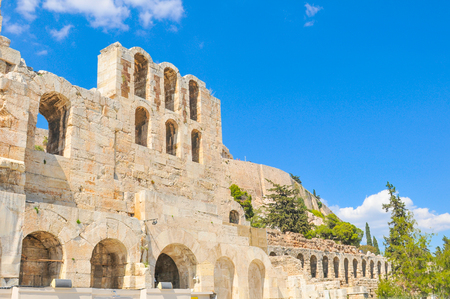 archaeological sites: Architectural detail of Odeon of Herodes Atticus in Athens, Greece Stock Photo