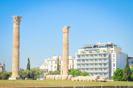 Architectural detail of the Temple of Olympian Zeus in Athens, Greece Stock Photo