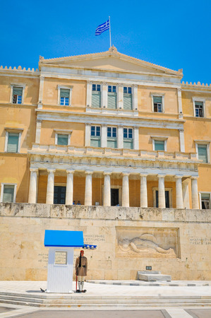 Athens, Greece - June 14, 2017: View of the Hellenic Parliament in the Old Royal Palace in Syntagma Square, Athens, Greece