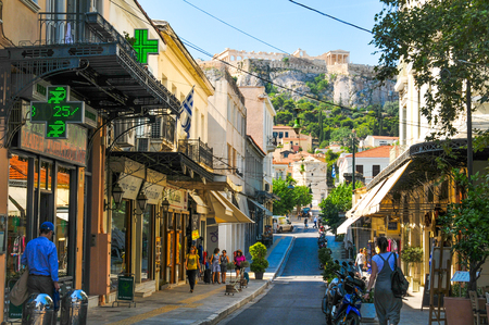Athens, Greece - June 13, 2017: View of typical street and generic architecture in  Athens, Greece