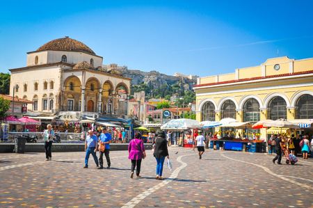 Athens, Greece - June 13, 2017: People shop in Monastiraki, a flea market square in the old town of Athens, Greece