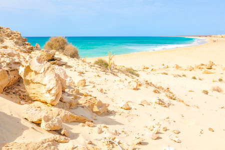 Marine landsacape with rocks in Cape Verde