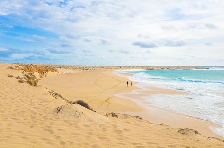 Secluded beaches on the island of Boa Vista, Cape Verde Stok Fotoğraf