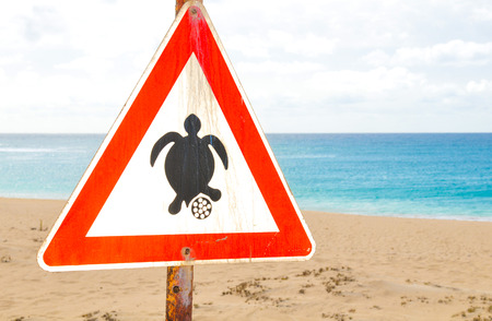Sign warning tourists of the turtle nesting season