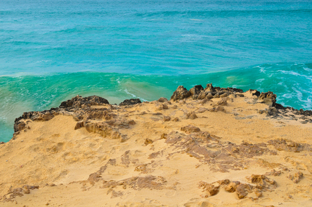 Marine landscape with volcanic rocks in Cape Verde, Africa Stock Photo