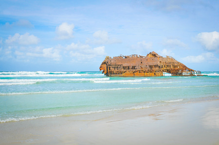 Marine landscape with the shipwreck of Cabo Santa Maria on the island of Boa Vista, Cape Verde, Africa Stock Photo