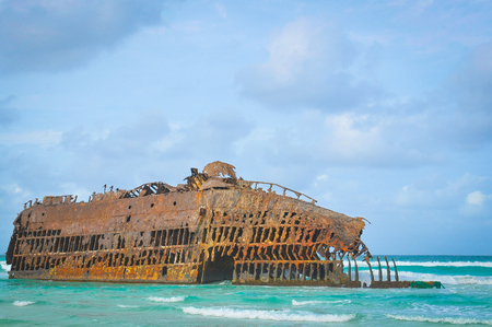 Marine landscape with the shipwreck of Cabo Santa Maria on the island of Boa Vista, Cape Verde, Africa Stock Photo