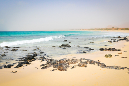 Sea panorama with volcanic rocks in Cape Verde