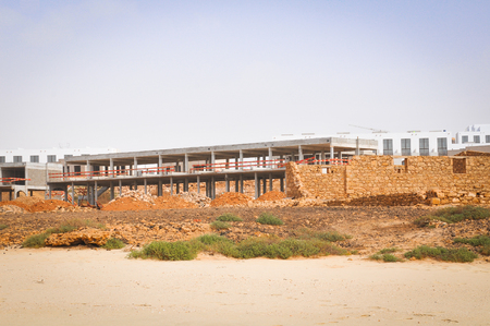 View of a construction site at the beach