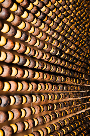Detail of wooden beads curtain