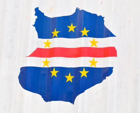 Resumen bandera de Cabo Verde en forma de isla Boa Vista