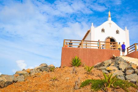 Boa Vista, Cape Verde - December 20, 2017: Tourists visit a catholic church on the island of Boa Vista, Cape Verde, Africa