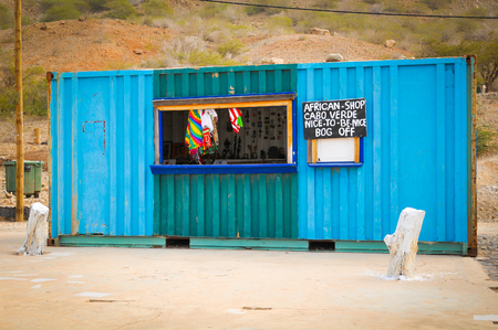 Boa Vista, Cape Verde - December 20, 2017: Souvenir shop on the island of Boa Vista in Cape Verde, Africa