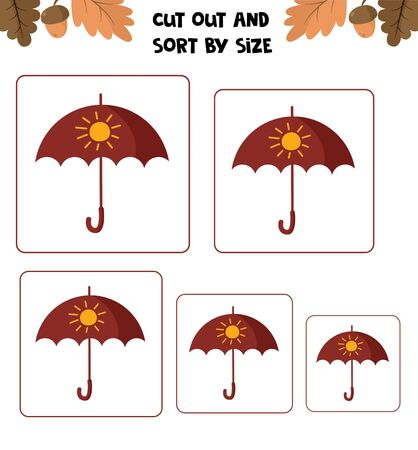 Educational worksheet for kids. Cut out and sort by size. Game for children.