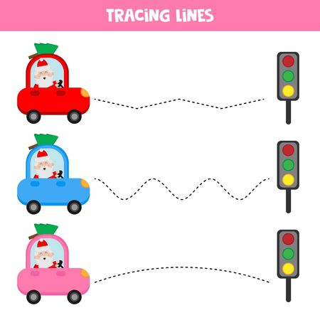 Educational worksheet for kids. Tracing lines. Santa Claus driving car Banque d'images - 132934189