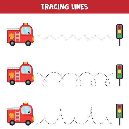 Traceringslijnen met brandweerwagen. Educatief werkblad voor kinderen. Handschrift oefenen.