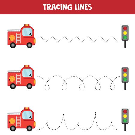 Tracing lines with fire truck. Educational worksheet for kids. Handwriting practice. 版權商用圖片 - 132934268