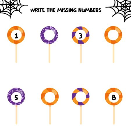 Worksheet for kids. Write the missing numbers. Printable for halloween party. Educational game for children. Halloween sweet lollipops.