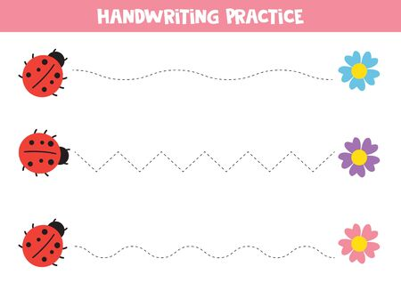 Educational worksheet for kids. Handwriting practice with cute ladybirds.
