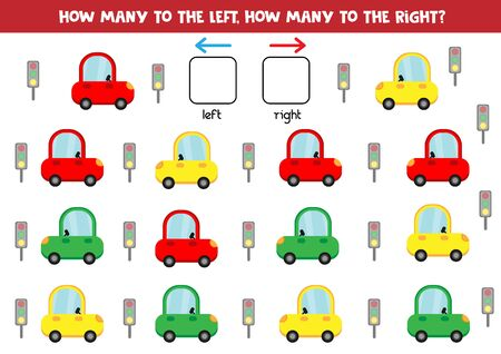 Educational worksheet for preschool kids. Left and right. Count how many cars go to the right and to the left.