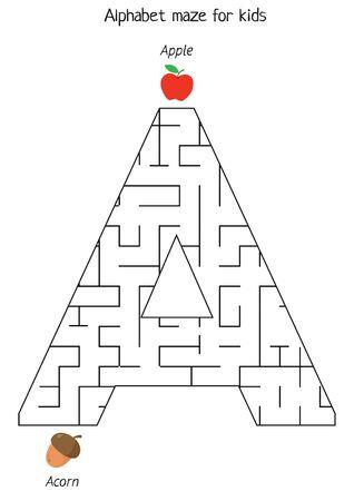 Educational worksheet for kids. Games for kids. Printable pages for preschool children. Alphabet maze. Learning letters. English grammar. Letter A.
