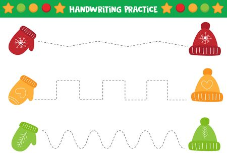 Educational worksheet for preschool kids. Handwriting practice. Trace lines with mittens and caps.