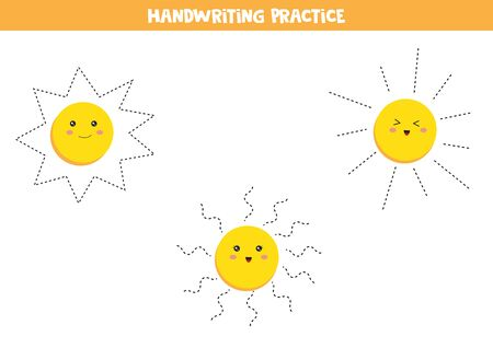 Handwriting practice for kids. Preschool worksheet. Set of cute kawaii suns. Educational worksheet for kids. Games for kids. Printable pages for preschool children.  イラスト・ベクター素材