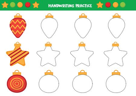 Educational worksheet for preschool kids. Trace the Christmas balls. Handwriting practice.