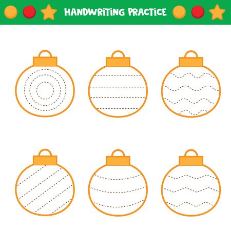 Educational worksheet for kids. Tracing lines. Trace the balls. Handwriting practice. Stock Illustratie