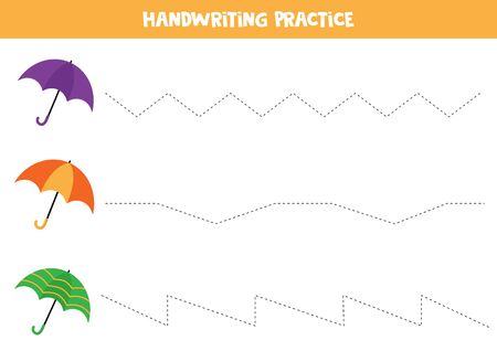 Handwriting practice. Trace lines. Set of colorful umbrellas.