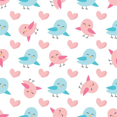 Cute spring seamless pattern with colorful birds.