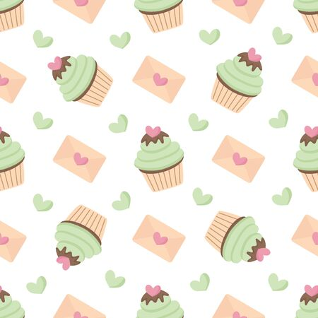 Lovely seamless pattern with cupcakes and hearts for valentine day.