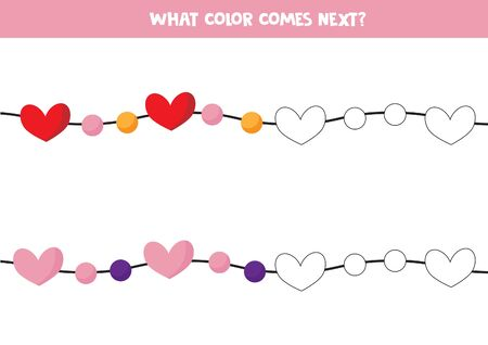 Color the garland with hearts.