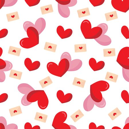 Bright seamless pattern with red and pink hearts.