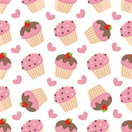 Cute seamless pattern with pink muffins.