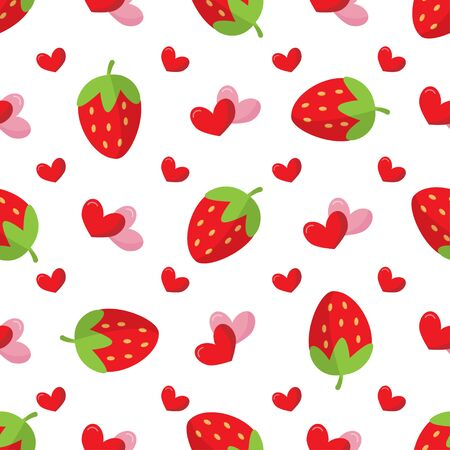 Cute seamless pattern with strawberry and hearts.