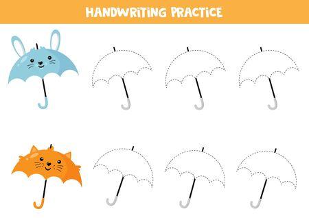 Educational worksheet for preschool kids. Handwriting practice. Trace umbrellas. Foto de archivo - 134876252
