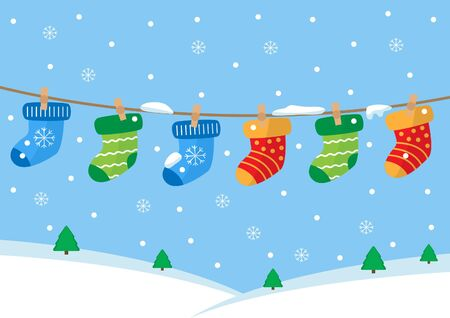 Colorful pairs of socks hanging on the rope. Winter landscape. Stock Illustratie