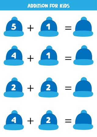 Addition with winter caps. Educational worksheet for preschool kids