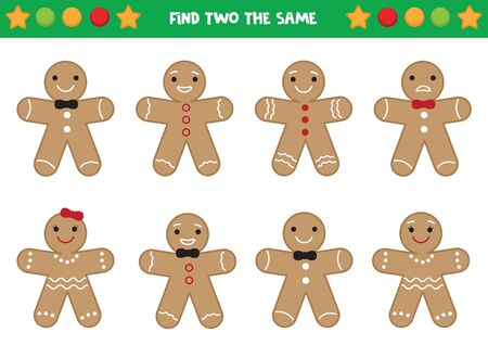 Find two the same gingerbread men. Educational worksheet for preschool kids