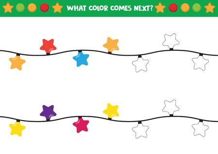 Luces navideñas en forma de estrellas. Qué color viene después. Ilustración de vector