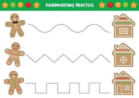 Handwriting practice with gingerbread men and houses. Illustration
