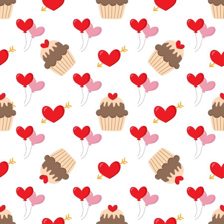 Cute lovely seamless pattern with hearts and cupcakes. Illustration