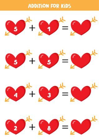 Addition for kids with red hearts.